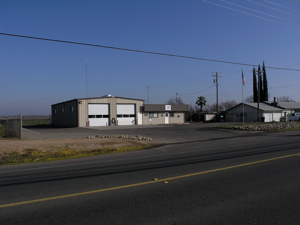 A rural fire station East of Modesto at the intersection of Yosemite Blvd and Albers road.