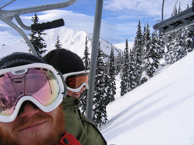 Kerri and Jesse heading up Rex for some turns in Green Valley.