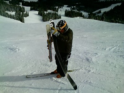 Three turns after putting his skis back on one of them blew up!!!!!!!!!!