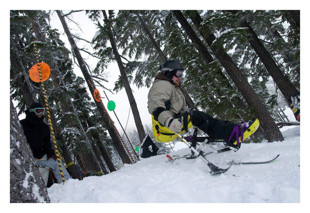 Dirksen watches on as sit-skier ________ launches the start of the advanced line.