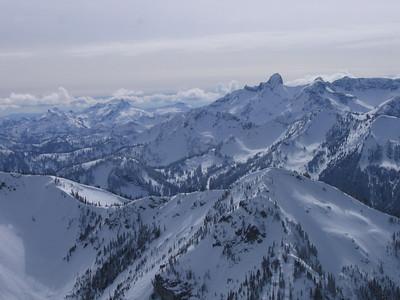 Looking past Crystal Lakes area toward Mount Rainier NP