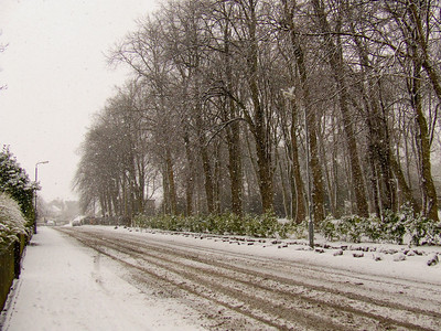 More heavy snow falling, Auchenlodment Road
