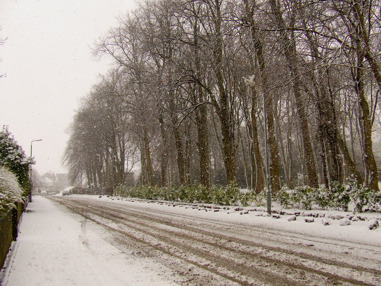 More heavy snow falling, Auchenlodment Road