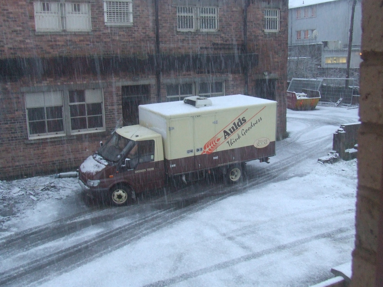 Aulds van waiting to make it's delivery in the snow
