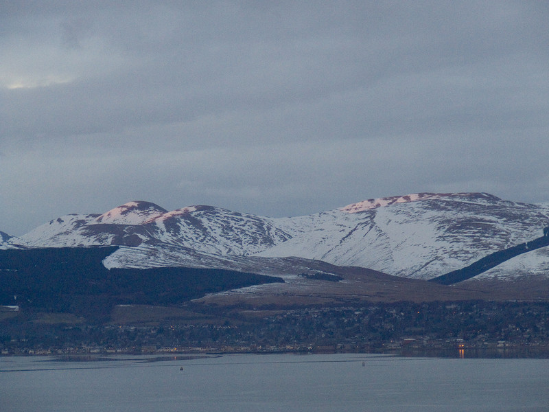 Helensburgh with snow on the hills in behind