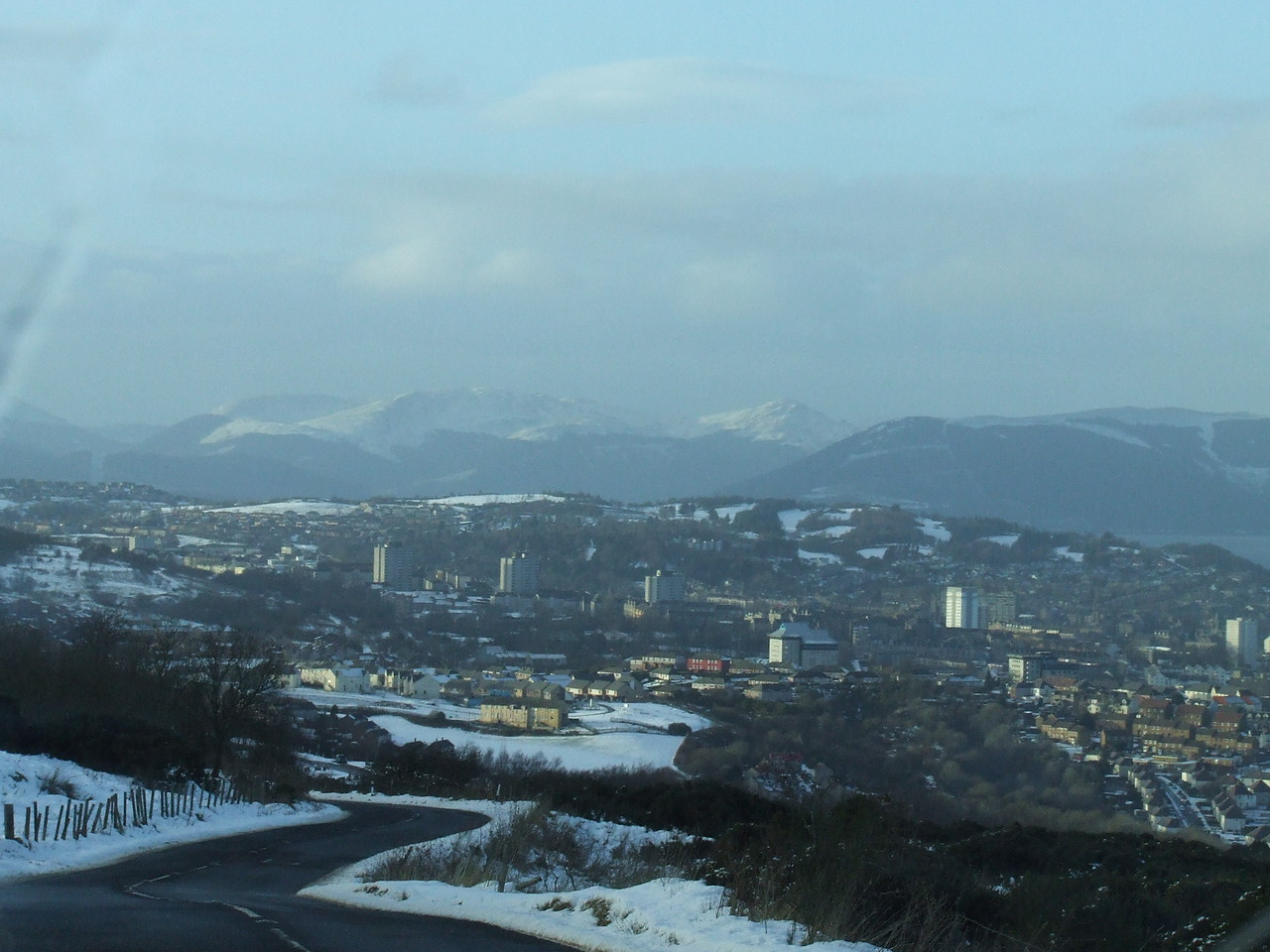 Looking over Greenock after a heavy snowfall
