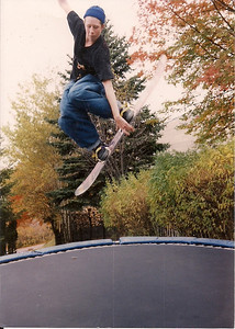 Goofin' around on Ross Peterson's trampoline many many years ago