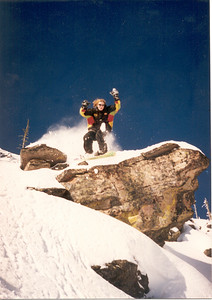 Jumping into the deep end off Diving Board in the 'Bowl backcountry.