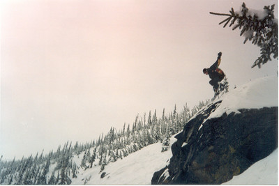 Of course a frontside grab is always a fun way to fly through the air too. Rock drop on the south ridge Schwitzer Mtn Idaho