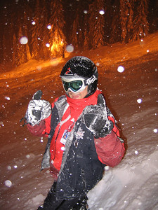 Yeah no shit thumbs up Mike! You're living right if you're making pow turns at 10pm.