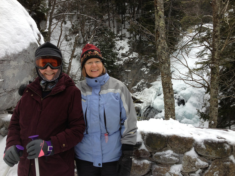 Snowshoe with Mom and Michelle at Pinkham Notch, up Tuck's trail to waterfall.