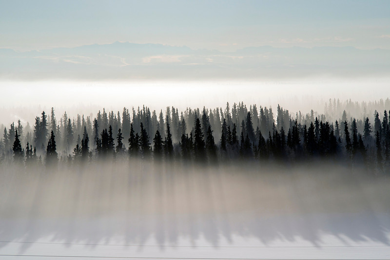 Ice fog lingers above the ground near Fairbanks, Alaska.