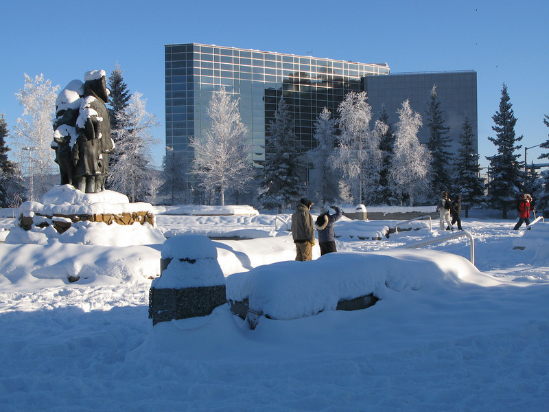 Credit: Chris Harper<br /> <br /> Golden Heart Park snow covered in winter. The Fairbanks Courthouse can be seen in the background.