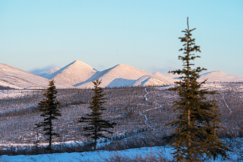 Credit: Sherman Hogue/Explore Fairbanks<br /> <br /> A view of the White Mountains National Recreation Area, north of Fairbanks, Alaska.