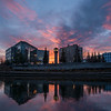 An early October morning view across the Chena River of downtown Fairbanks, Alaska.