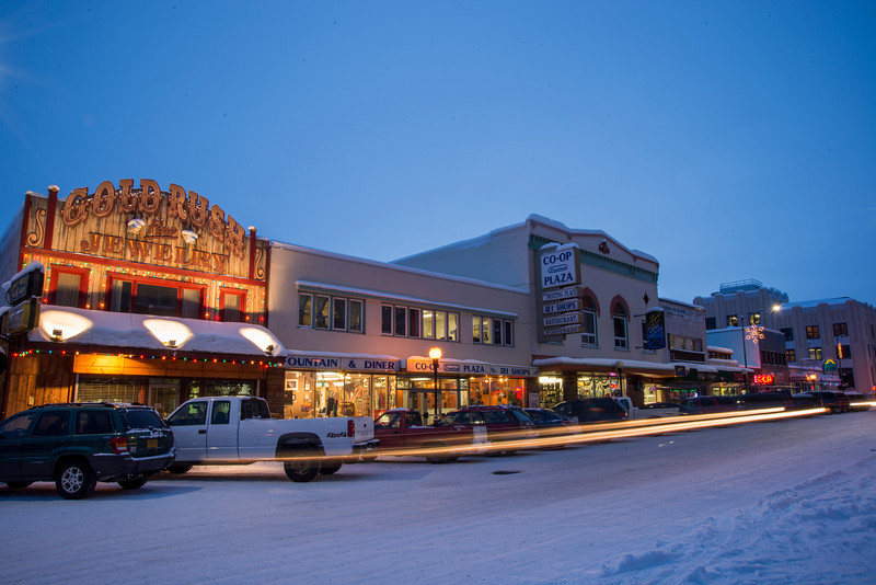 Historic 2nd Avenue in downtown Fairbanks, Alaska, in winter.