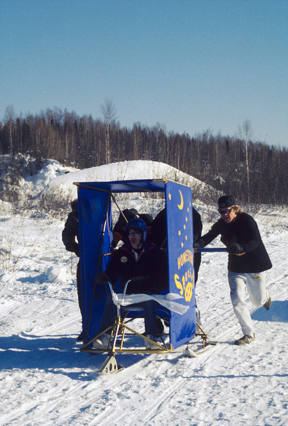 Credit: Kathy Hedges<br /> <br /> The Outhouse Races are one of the popular events held during Chatanika Days north of Fairbanks.