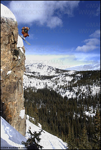 Pro big-mountain skier Michael Goulette drops a 50-foot cliff in the Berthoud Pass backcountry near Winter Park, Colo. in 2004.