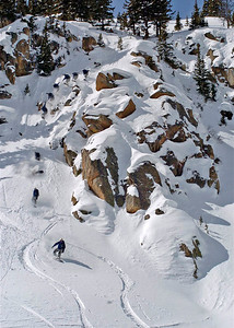 April 11, 2006; Berthoud Pass, CO, USA;  Colorado split-board pioneer Rama Davis drops Elephant Cliff in this sequence shot in the Berthoud Pass backcountry.