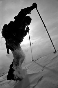 March 20, 2005; Berthoud Pass, CO, USA;  Alpine climber and experiential instructor Dan Trockman nears the summit of Berthoud Pass from the East side.