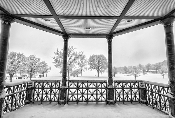 Bandstand Snowstorm B&W