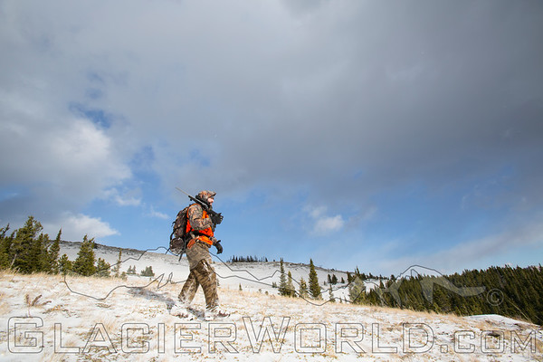 Hunter hiking in Montana