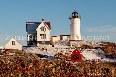 Festive Nubble Lighthouse