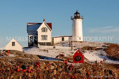 Festive Nubble Lighthouse