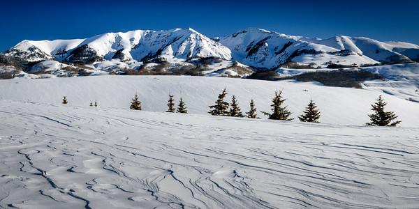 Snow Sculped Drifts below Red Rock Mountain