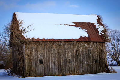 Snow on Barn Roof