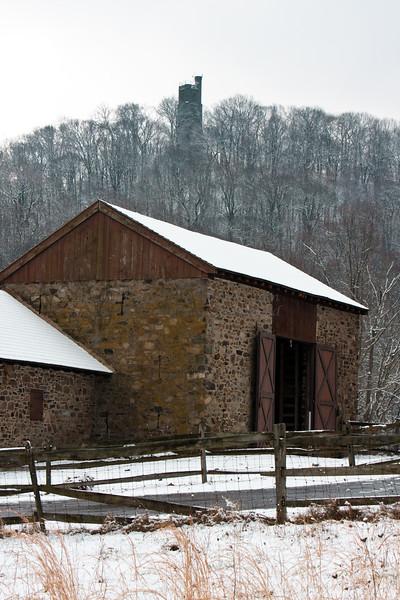 Washington Crossing Park Sheep Barn and Bowman's Tower, New Hope, Bucks County, PA