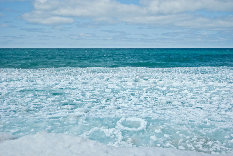 Pancake ice off the Lake Superior shore at Agate Beach, Grand Marais Michigan