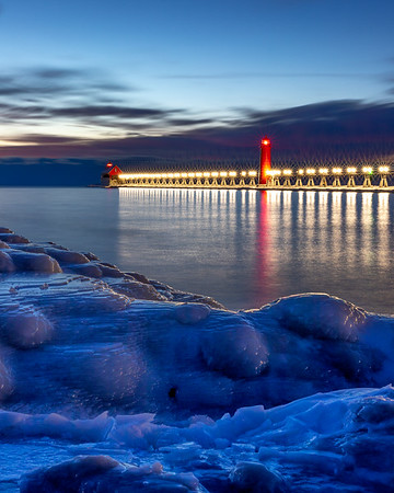Grand Haven Lights Beyond the Ice