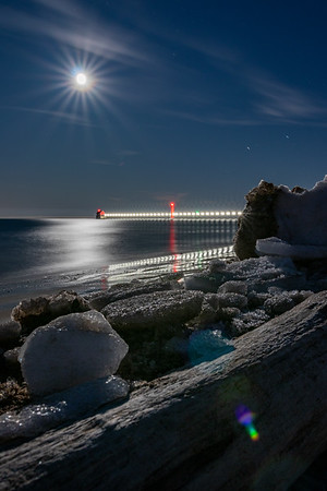 Chilly Lunar Light in Grand Haven