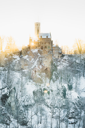 Winter view of castle Lichtenstein