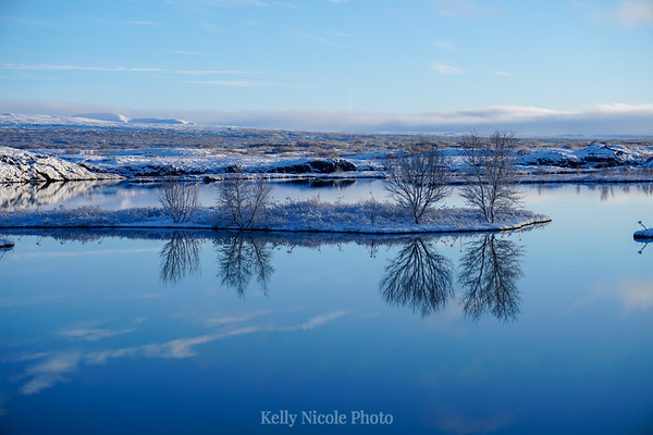 Reflections in a lake in Iceland