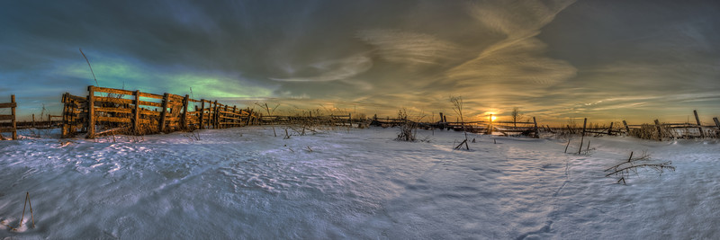 Winter Sunset Panoramic over Farmers Field I