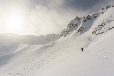 Drew Nylen approaching Ptarmigan Peak, Purcell Mountains, BC.