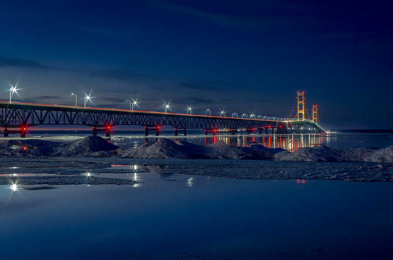 Twilight at the Mackinac Bridge