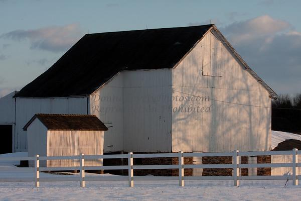 Bucks County White Barn in the Snow