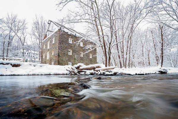 Grist and Saw Mill at Black Rock in Snow
