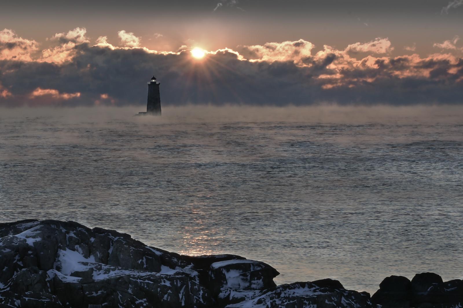 Whaleback Lighthouse composite with Sea Smoke