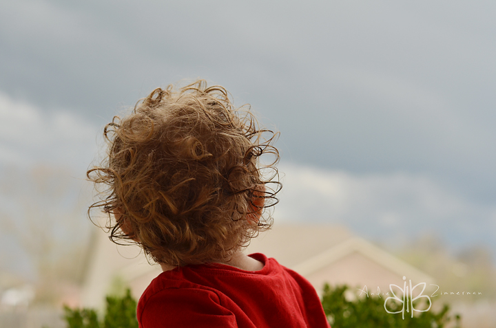 Something wicked this way comes.  Liam watching the rolling clouds and lightning.