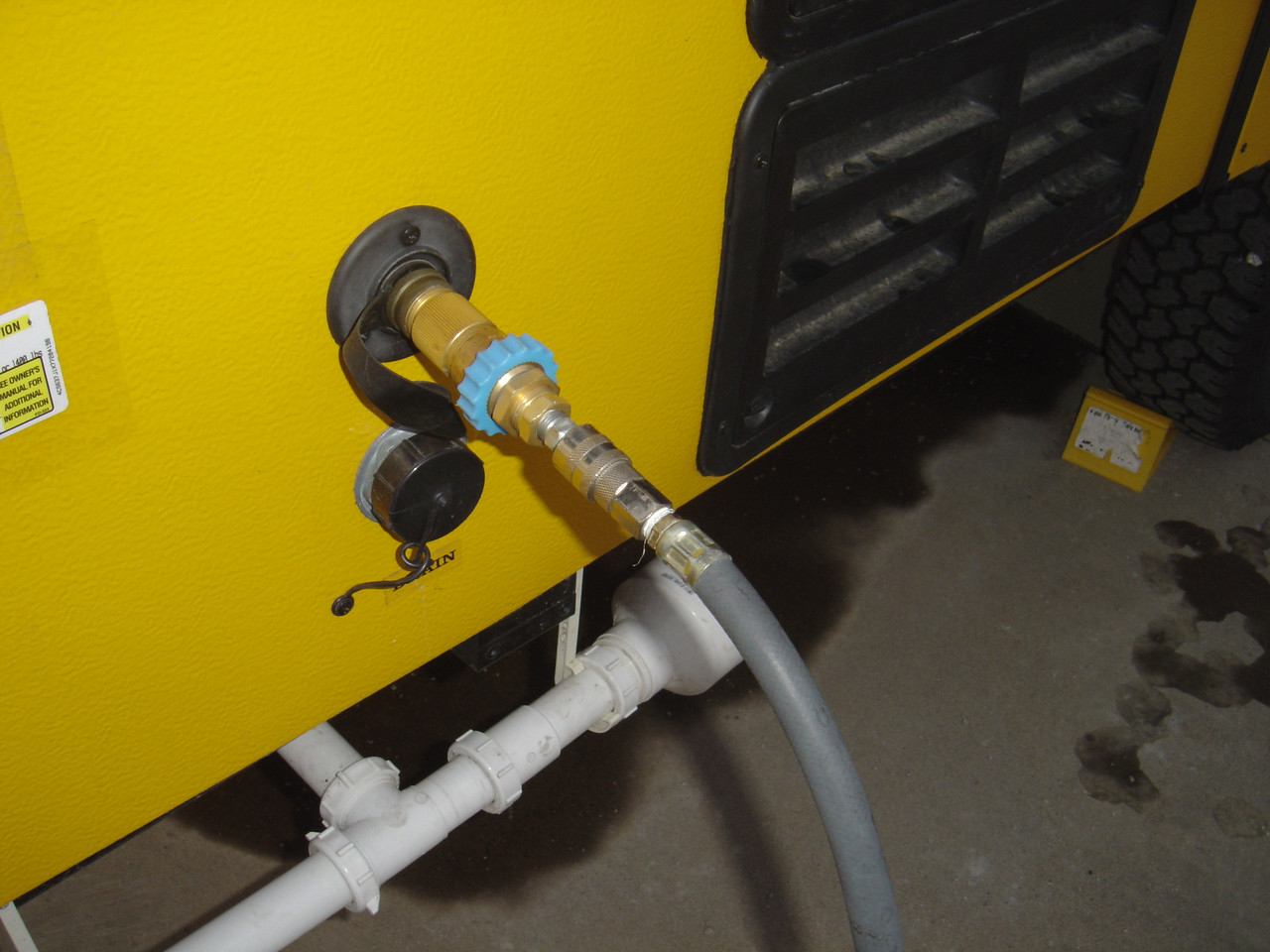 Home made Blow Out plug.  Remember the water pressure regulator will protect the lines from over pressure.