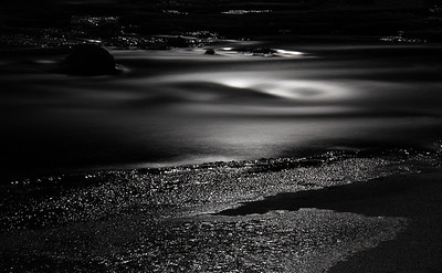 Icecold river under the moonlight.