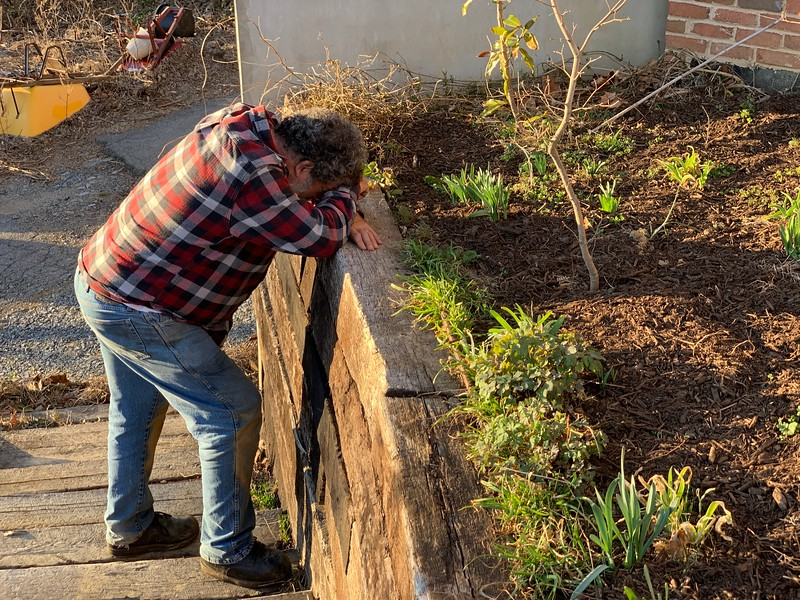 Jim  3/16 realizing how much work before Open Garden on 3/23
