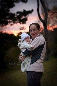 Mummy and Scarlett Walking in Wentworth Falls on a Cold Autumn Evening - April 2012 (Scarlett 2 Months 7 Days)
