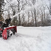 KRISTOPHER RADDER — BRATTLEBORO REFORMER<br /> Ernie Antonucci, of Brattleboro, Vt., uses a snowblower while clearing out the entryway of a driveway after a snowstorm on Thursday, Feb. 6, 2020.