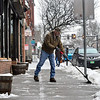 KRISTOPHER RADDER — BRATTLEBORO REFORMER<br /> Gary Smith clears the sidewalk outside of The Works, on Main Street, in Brattleboro, Vt., on Thursday, Feb. 6, 2020.