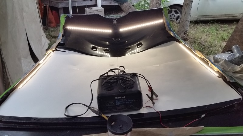 "Gonna be some good lighting under the hood ! ! ! ! Superbright LED strips. The white poster paper is the template to cut the 3/4"" coated black foam hood liner."